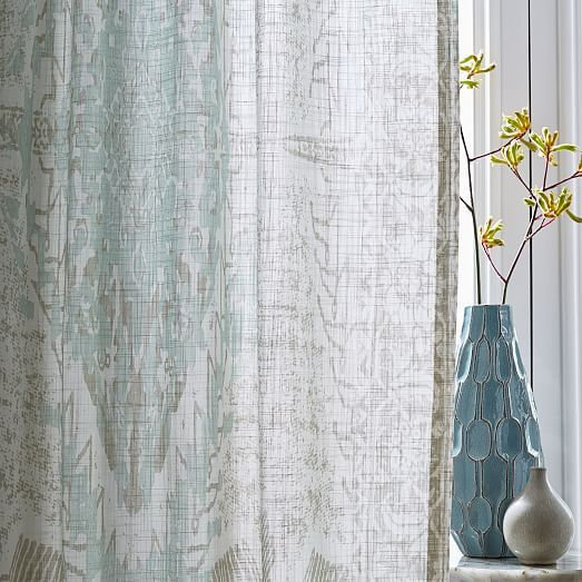 Sheer Cotton Distressed Medallion Curtains (Set Of 2) – Pale Intended For Vue Elements Priya Tab Top Window Curtains (View 7 of 36)