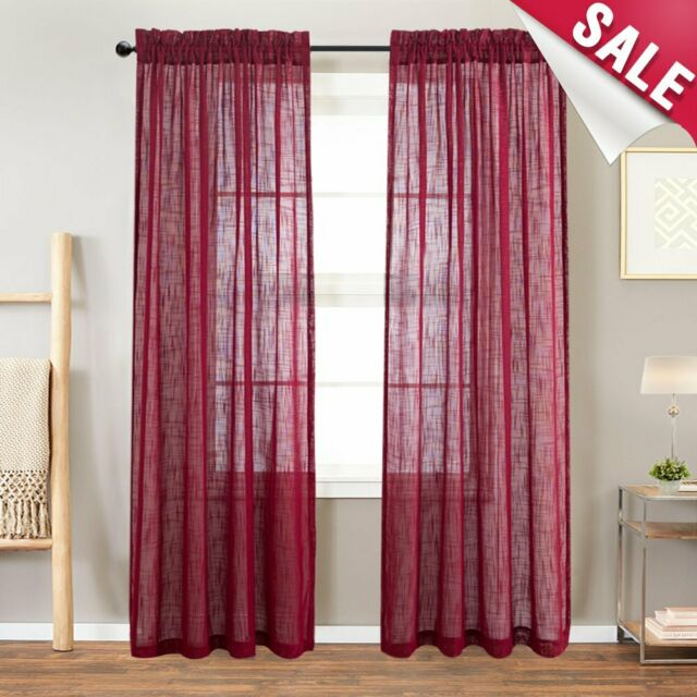Sheer Curtain Light Filtering Rod Pocket Linen Textured For Living Room, 2 Panel Within Light Filtering Sheer Single Curtain Panels (View 7 of 38)