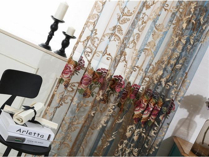 Sheer Curtains Elegant Floral Embroidered Sheer Rod Pocket Curtain Panel  Home Decorations Curtains Voile Drapes Tulle Curtains For Bedroom In Kida Embroidered Sheer Curtain Panels (#35 of 50)