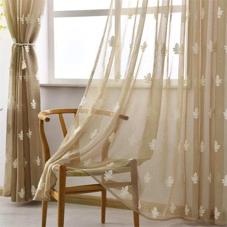 Sheer Curtains Floral Embroidered Voile Curtain Panels For Bedroom Rustic Crushed Sheers Window Covering Contemporary Curtains Kitchen Curtain From Intended For Ofloral Embroidered Faux Silk Window Curtain Panels (View 19 of 50)
