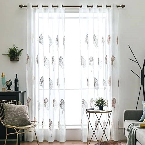 Sheer Curtains With Leaves – Shockanalyticsllc With Regard To Wavy Leaves Embroidered Sheer Extra Wide Grommet Curtain Panels (#34 of 50)