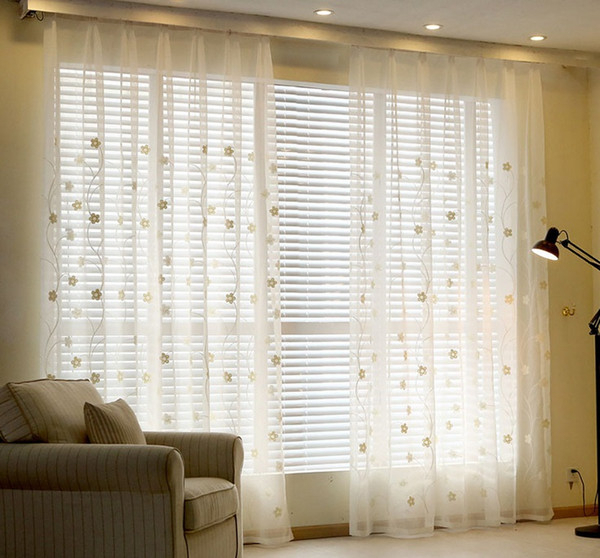 Sheer Curtains Youyee Semi Sheer Elegant Embroidered Solid White Rod Pocket Window Curtains/drape/panels/treatment Burgundy Curtains Electric Curtains In Kida Embroidered Sheer Curtain Panels (View 40 of 50)