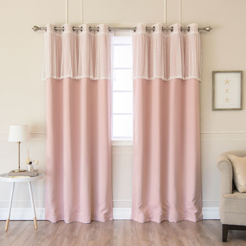 Sheer Dot Valance And Blackout Dusty Pink 52 X 84 In (#44 of 50)