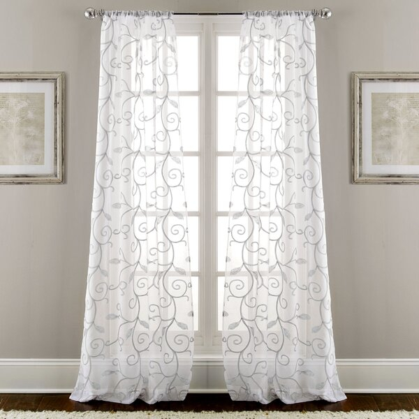 Sheer Embroidered Curtains | Wayfair Inside Luxury Collection Summit Sheer Curtain Panel Pairs (#46 of 50)