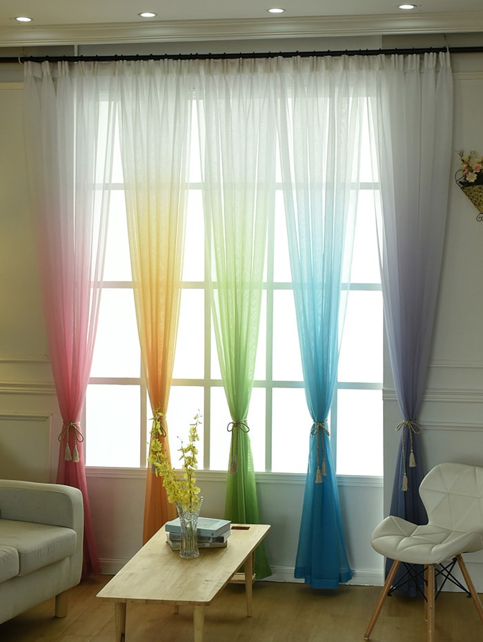 Sheer Faux Linen Ombre Border Curtains Ombre Sheer Curtains For Ombre Faux Linen Semi Sheer Curtains (#44 of 50)
