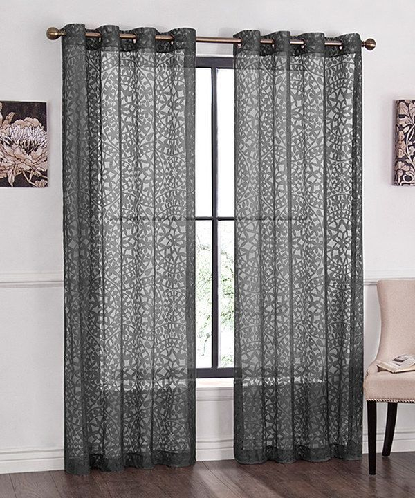 Sheer Grey Curtains On Zulily #curtainsideasikea Inside Sunsmart Dahlia Paisley Printed Total Blackout Single Window Curtain Panels (#24 of 45)