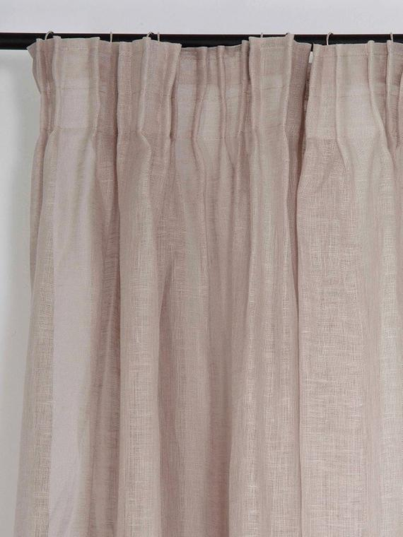 Sheer Linen Curtains, Pencil Pleat Window Curtain Panels, White, Off White,  Light Grey Window Drapes, Pinch Pleat Curtains Pertaining To Signature French Linen Curtain Panels (#35 of 50)