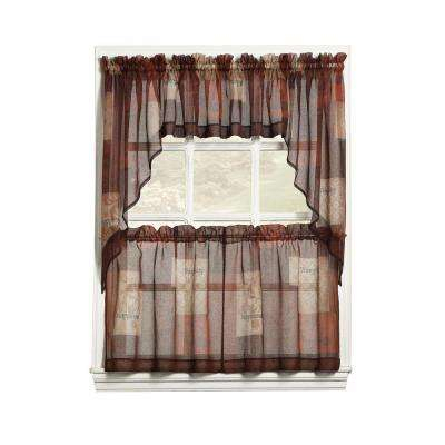 Sheer Multi Eden Printed Textured Sheer Kitchen Curtain Swags, 56 In. W X  36 In (View 17 of 27)