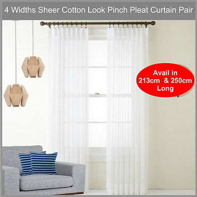 Sheer Pinch Pleat Curtain Pair Cotton Look Voile White | Ebay Intended For Double Pinch Pleat Top Curtain Panel Pairs (#45 of 50)