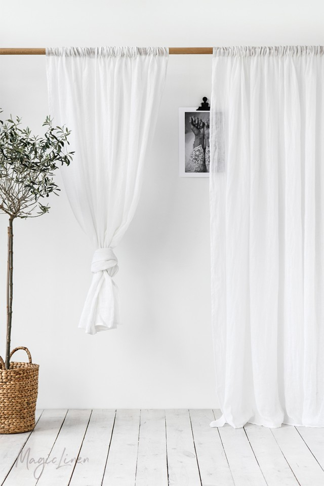 Sheer Rod Pocket Linen Curtain Panel In Rod Pocket Curtain Panels (View 31 of 34)