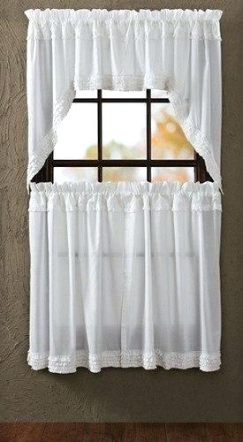 Sheer Tier Curtains White Ruffled Swag 24 In House Within Sheer Voile Ruffled Tier Window Curtain Panels (View 17 of 50)