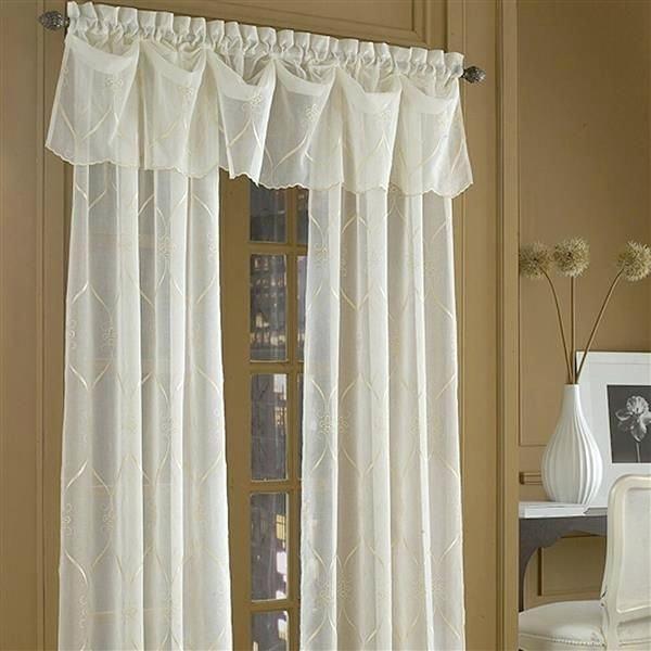 Sheer Valance White Beads Curtain Window Kitchen Drape With Regard To Infinity Sheer Rod Pocket Curtain Panels (#34 of 50)