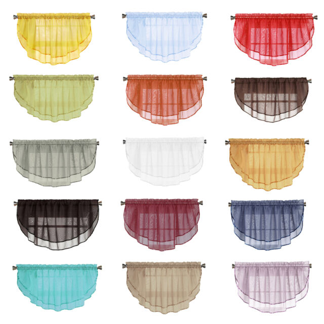 "Sheer Voile Scalloped Window Curtain Valance Size 54""w X 24""l Throughout Erica Sheer Crushed Voile Single Curtain Panels (#40 of 41)"