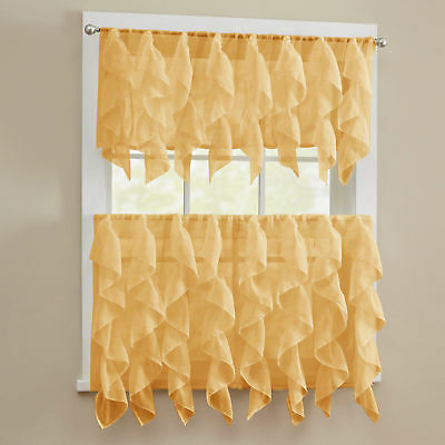 Sheer Voile Vertical Ruffle Window Kitchen Curtain Tiers Or Throughout Sheer Voile Waterfall Ruffled Tier Single Curtain Panels (#38 of 50)