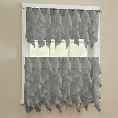 Sheer Voile Vertical Ruffle Window Kitchen Curtain Tiers Or Valance Gray | Ebay Regarding Sheer Voile Ruffled Tier Window Curtain Panels (View 23 of 50)