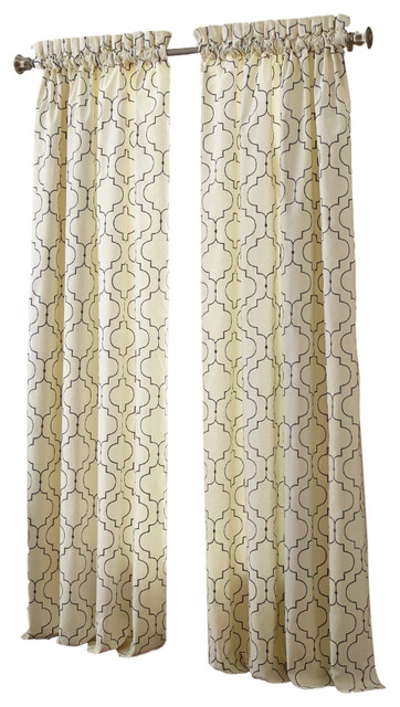 """Sherry Kline 63"""" Hampton Embroidered Window Panel, Set Of 2, Ivory Pertaining To Caldwell Curtain Panel Pairs (View 18 of 27)"""
