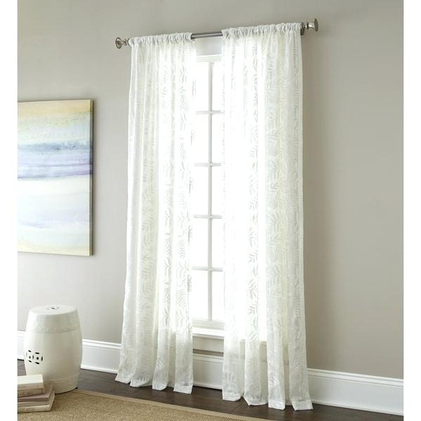 Sherry Luxury White Embroidered Sheer Curtain Panel Pair With Wavy Leaves Embroidered Sheer Extra Wide Grommet Curtain Panels (#38 of 50)