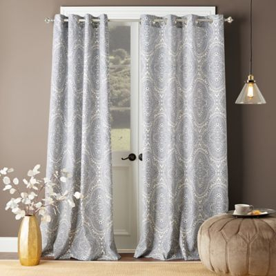 Shetland Print 108 Inch Grommet Top Window Curtain Panel In Within Softline Trenton Grommet Top Curtain Panels (View 29 of 50)