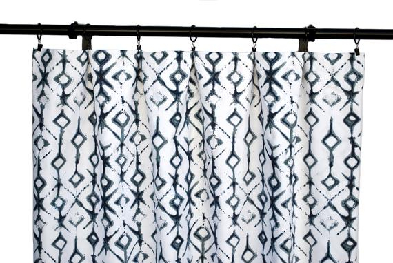 Shibori Indigo Curtains, Navy Blue Curtain, 2 Curtain Panels, Curtains,  Home Decor, Ikat Blue Curtains In Ikat Blue Printed Cotton Curtain Panels (#45 of 50)
