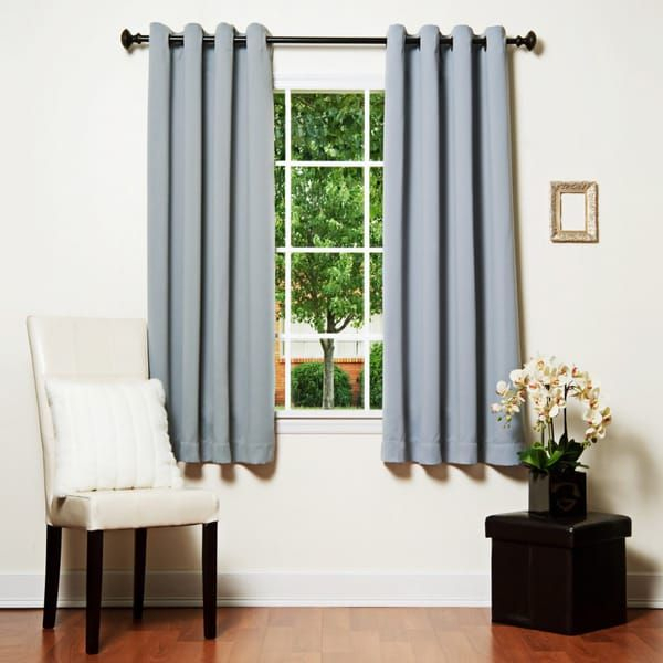Shop Aurora Home Grommet Top Thermal Insulated Blackout 64 In Grommet Top Thermal Insulated Blackout Curtain Panel Pairs (View 40 of 50)
