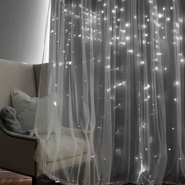 Shop Aurora Home Star Punch Tulle Overlay Blackout Curtain Throughout Star Punch Tulle Overlay Blackout Curtain Panel Pairs (View 4 of 50)