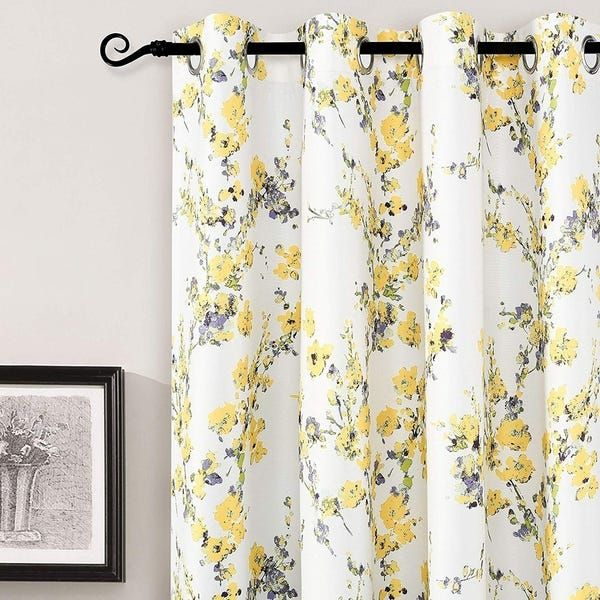 Shop Driftaway Blossom Botanic Lined Thermal Insulated With Insulated Blackout Grommet Window Curtain Panel Pairs (View 5 of 37)
