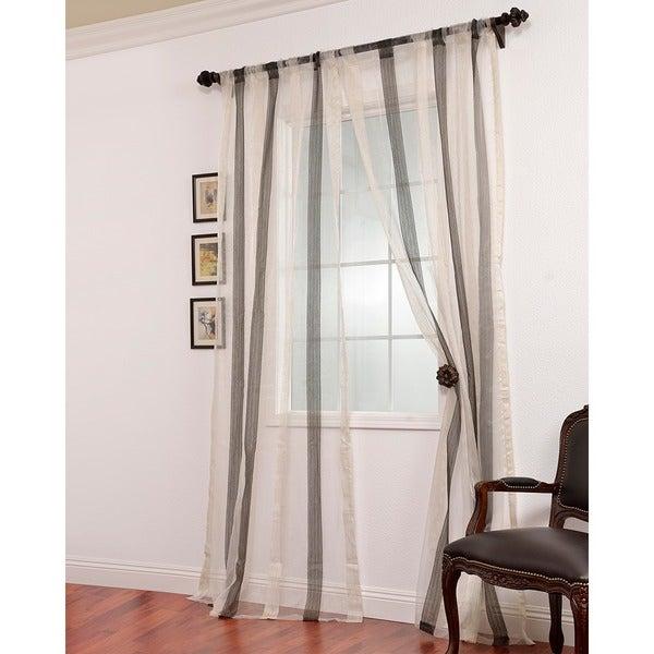 Shop Exclusive Fabrics Signature Havannah Ash Striped Linen Regarding Montpellier Striped Linen Sheer Curtains (View 8 of 50)