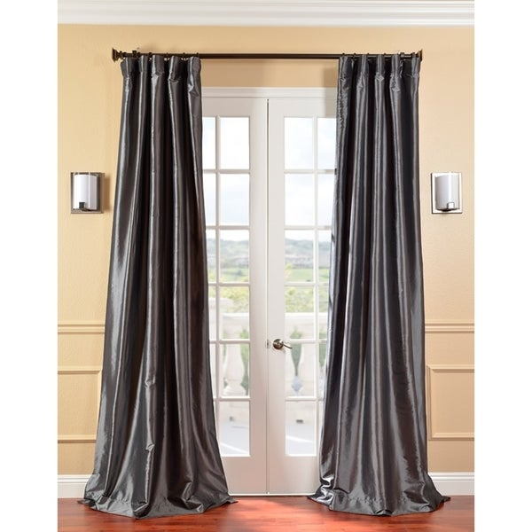 Shop Exclusive Fabrics Solid Faux Silk Taffeta Graphite With Solid Faux Silk Taffeta Graphite Single Curtain Panels (View 2 of 50)