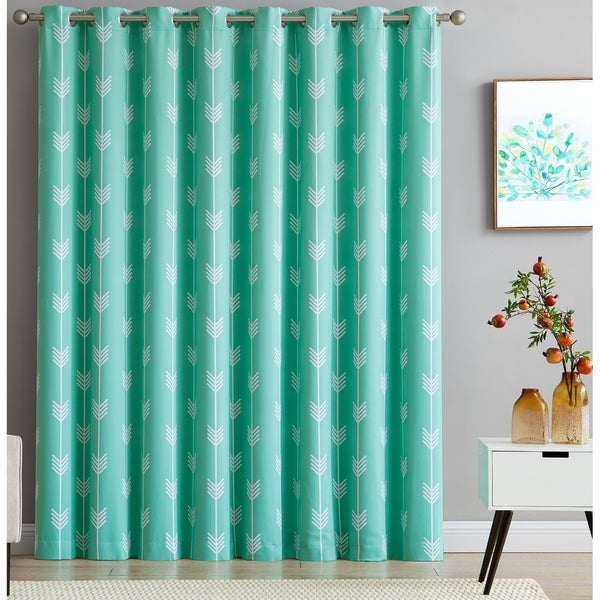 Shop Hlc Arrow Print Thermal Grommet Top Blackout Patio With Regard To Patio Grommet Top Single Curtain Panels (#35 of 38)