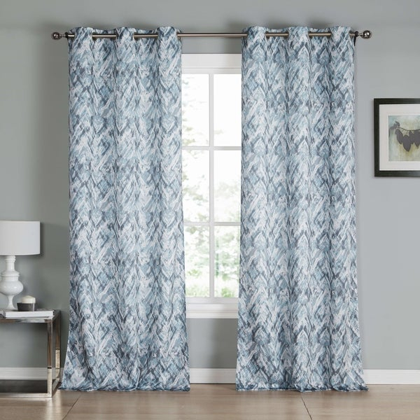 "Shop Kensie Neila Curtain Panel Pair – 38X84"" – Ships To In Essentials Almaden Fretwork Printed Grommet Top Curtain Panel Pairs (#35 of 38)"