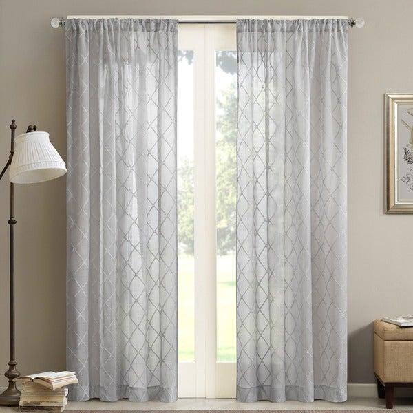 Shop Madison Park Iris Embroidered Diamond Sheer Single In Laya Fretwork Burnout Sheer Curtain Panels (#31 of 38)