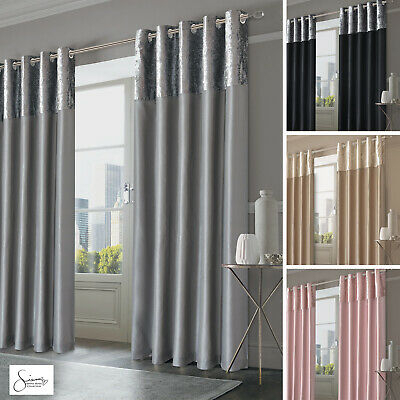 Sienna Crushed Velvet Band Curtains Pair Eyelet Faux Silk With Regard To Overseas Faux Silk Blackout Curtain Panel Pairs (#36 of 41)