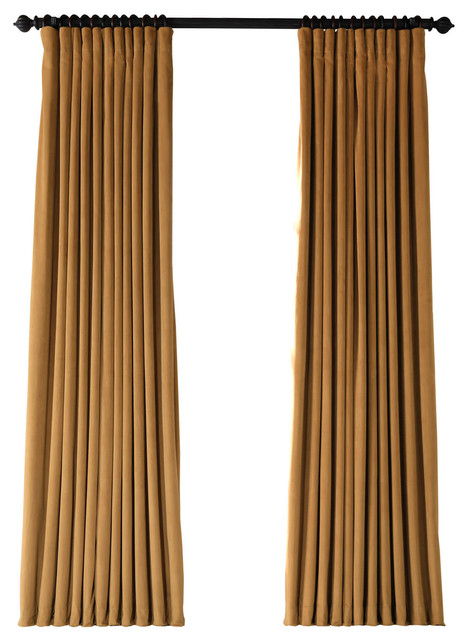 """Signature Amber Gold Doublewide Blackout Velvet Curtain Single Panel,  100""""x108"""" With Signature Blackout Velvet Curtains (#28 of 50)"""