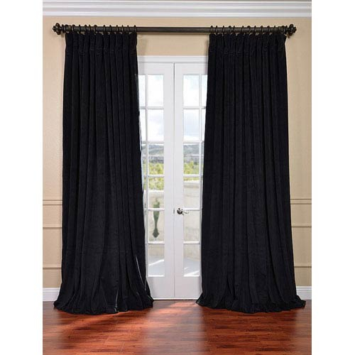 Signature Black Double Wide Velvet Blackout Pole Pocket Single Panel Curtain, 100 X 120 In Signature Ivory Velvet Blackout Single Curtain Panels (View 10 of 50)