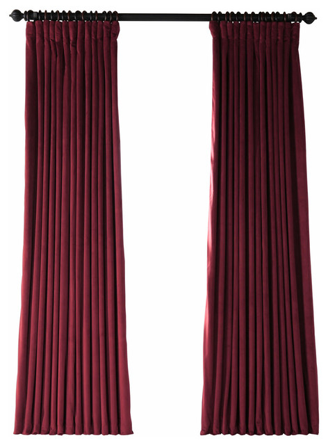 "Signature Burgundy Blackout Velvet Curtain Single Panel, 100""x108"" With Heritage Plush Velvet Curtains (View 42 of 50)"
