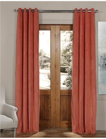 Signature Desert Coral Grommet Blackout Velvet Curtain Regarding Signature Blackout Velvet Curtains (#30 of 50)