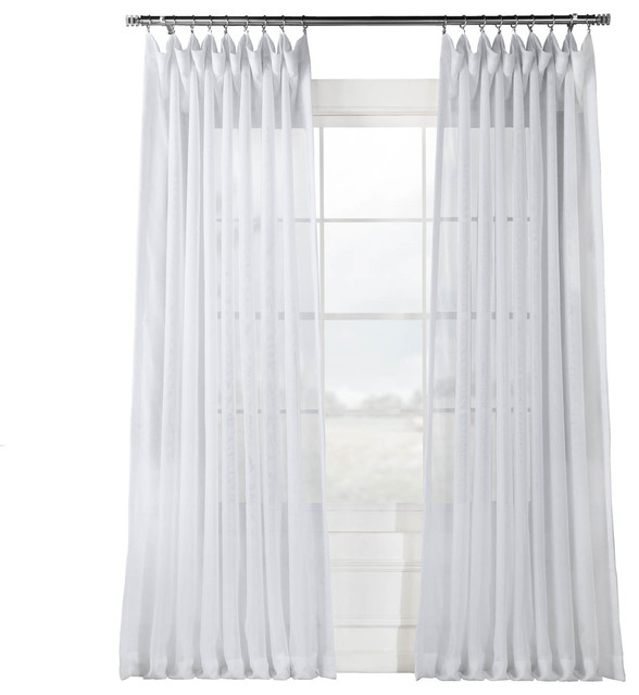 """Signature Double Wide White Sheer Curtain Single Panel, 100""""x108"""" Regarding Linen Button Window Curtains Single Panel (#33 of 40)"""