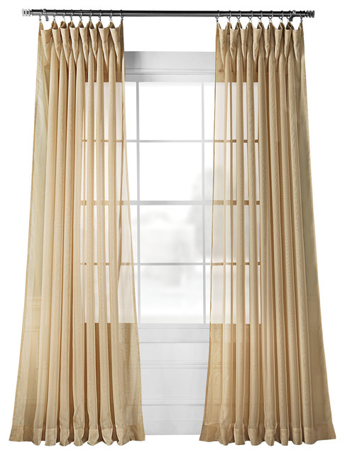 Signature Extra Wide Soft Tan Sheer Curtain Single Panel, 100W X 84L Throughout Signature Extrawide Double Layer Sheer Curtain Panels (#43 of 50)