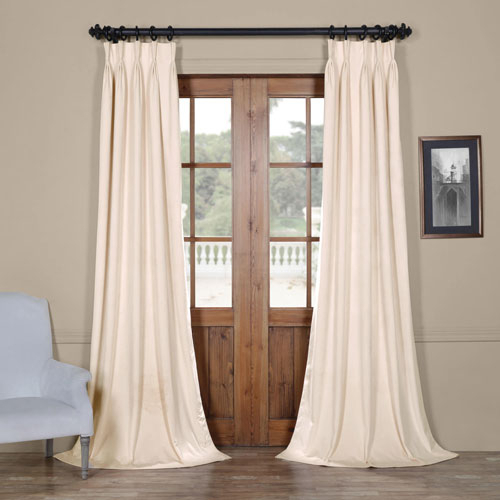 Signature Ivory 25 X 96 Inch Signature French Pleated Blackout Velvet  Curtain With Regard To Signature Blackout Velvet Curtains (#33 of 50)