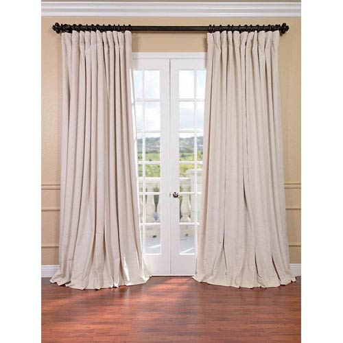 Signature Ivory Double Wide Velvet Blackout Pole Pocket Single Panel  Curtain, 100 X 120 Intended For Signature Blackout Velvet Curtains (#34 of 50)