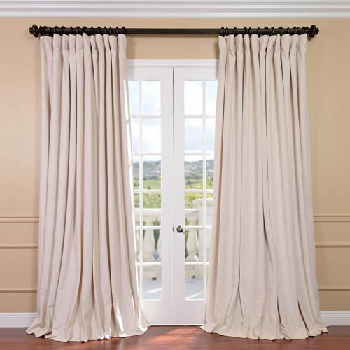 Signature Ivory Double Wide Velvet Blackout Pole Pocket Single Panel  Curtain, 100 X 96 With Signature Ivory Velvet Blackout Single Curtain Panels (#39 of 50)