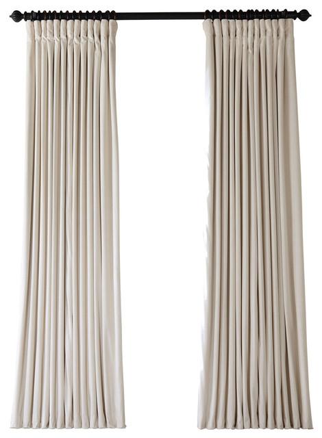 "Signature Ivory Doublewide Blackout Velvet Curtain Single Panel, 100""x108"" Throughout Signature Blackout Velvet Curtains (#35 of 50)"