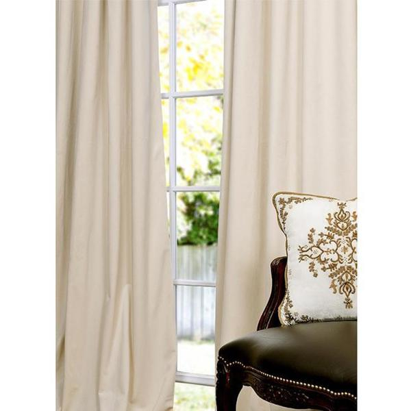 Signature Ivory Velvet 108 Inch Blackout Curtain Panel On Within Signature Ivory Velvet Blackout Single Curtain Panels (#40 of 50)