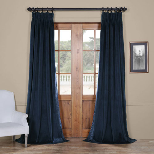 Signature Midnight Blue 25 X 96 Inch Signature French Pleated Blackout  Velvet Curtain Regarding Signature French Linen Curtain Panels (#37 of 50)