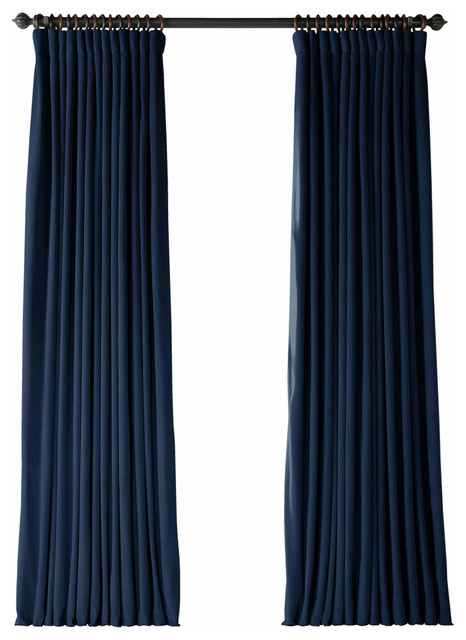 "Signature Midnight Blue Doublewide Blackout Velvet Single Panel, 100""x120"" Pertaining To Signature Ivory Velvet Blackout Single Curtain Panels (#41 of 50)"