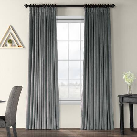 Signature Natural Grey Extra Wide Blackout Velvet Curtain Within Signature Extrawide Double Layer Sheer Curtain Panels (#44 of 50)