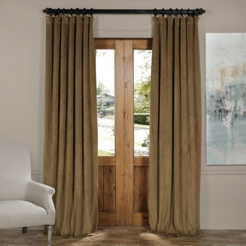 Signature New Fawn Blackout Velvet Curtain | Products Regarding Signature Pinch Pleated Blackout Solid Velvet Curtain Panels (View 41 of 50)