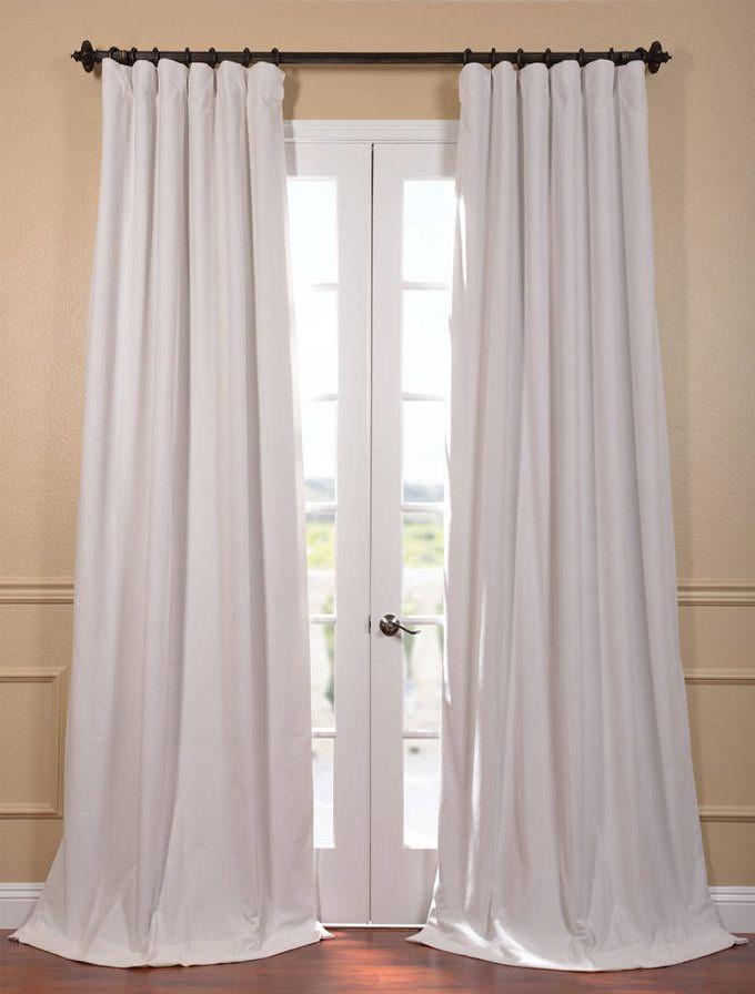 Signature Off White Blackout Velvet Curtain | Home | Velvet Inside Signature Ivory Velvet Blackout Single Curtain Panels (#42 of 50)