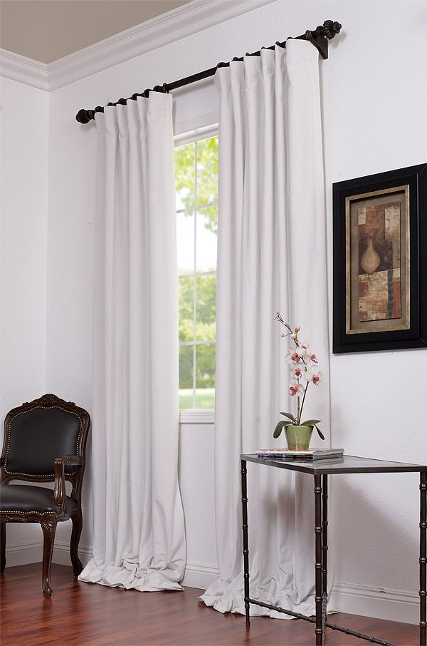 Signature Off White Blackout Velvet Pole Pocket Curtains For Warm Black Velvet Single Blackout Curtain Panels (#32 of 48)