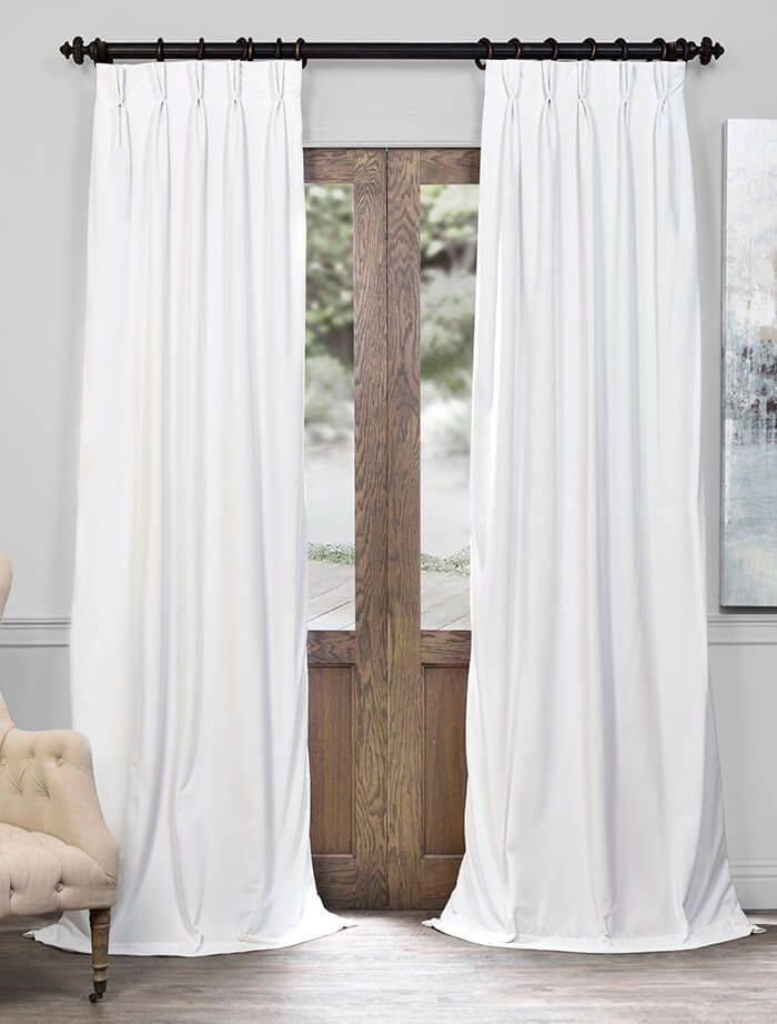 Signature Off White Pleated Blackout Velvet Curtain Within Signature Pinch Pleated Blackout Solid Velvet Curtain Panels (View 3 of 50)